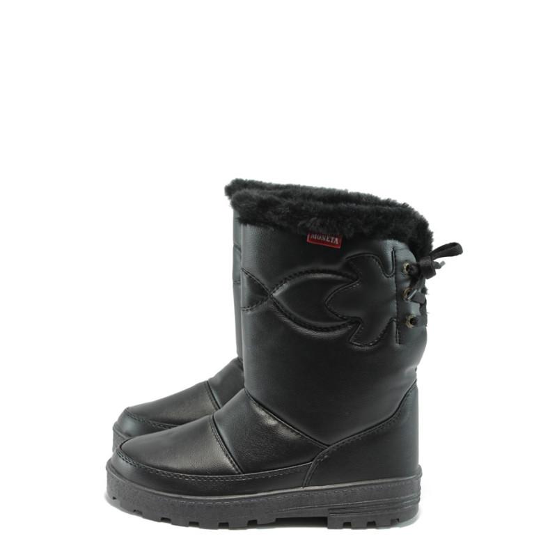 f9a7ea72489 Черни дамски ботуши, здрава еко-кожа - спортни обувки за есента и зимата N  10007464