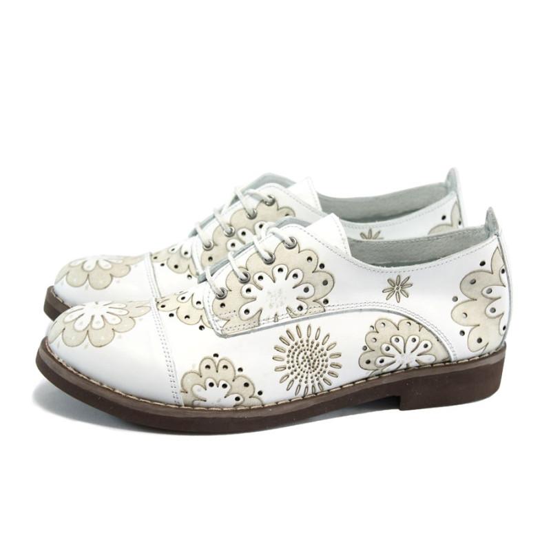 46e6491e3cc Бели ортопедични дамски обувки на цветя, естествена кожа