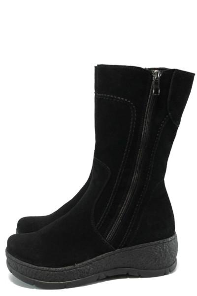 b3147d45729 Черни дамски ботуши, естествен велур - всекидневни обувки за есента и  зимата N 10007436