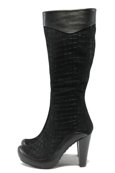 c02b1647a86 Черни дамски ботуши, естествен велур - елегантни обувки за есента и зимата  N 10007588