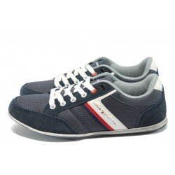 Сини юношески спортни обувки, естествена кожа - велур
