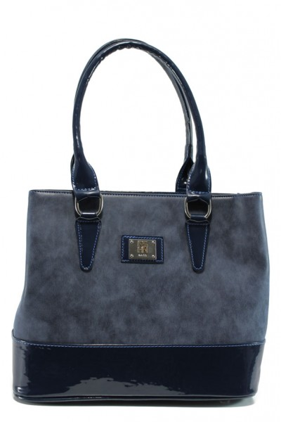 ac7164e8e21 Тъмносиня дамска чанта, еко-кожа и лачена еко-кожа - удобство и стил
