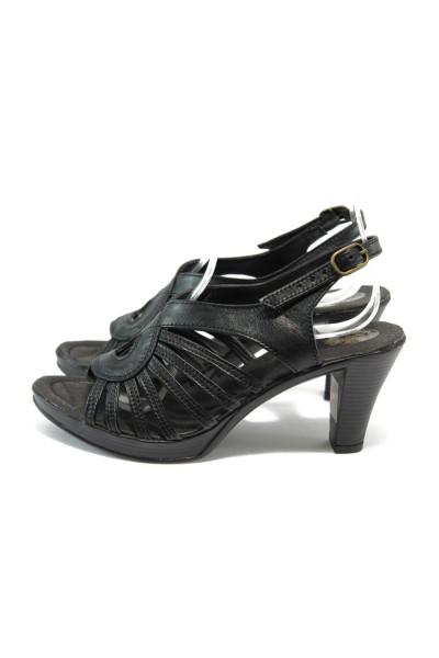 9e13280567b Анатомични черни дамски сандали, естествена кожа - всекидневни обувки за  лятото N 10005750