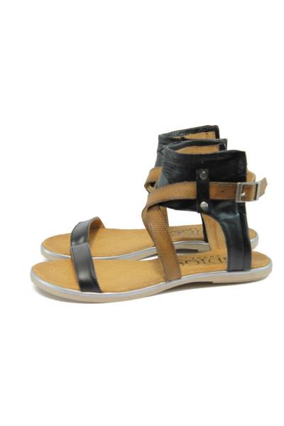 caf49eacbb7 Анатомични черни дамски сандали, естествена кожа - всекидневни обувки за  лятото N 10008694