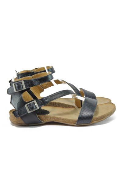 6863fd73141 Анатомични черни дамски сандали, естествена кожа - всекидневни обувки за  лятото N 10008861