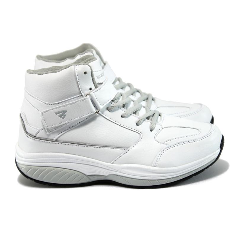 7cca4704a73 Бели дамски кецове, здрава еко-кожа - спортни обувки за есента и зимата N  10009231