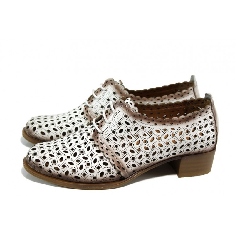 398adf8ba35 Бели анатомични дамски обувки със среден ток, естествена кожа перфорирана -  ежедневни обувки за пролетта и лятото ...
