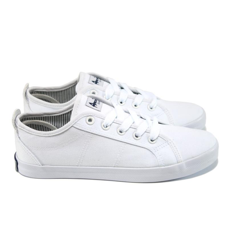 8c6e2425423 Бели дамски кецове, текстилна материя - спортни кецове за пролетта и лятото  N 100010609