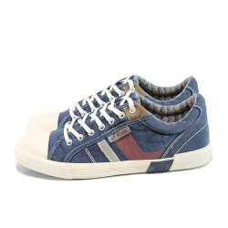 Сини мъжки спортни обувки, текстилна материя - спортни обувки за пролетта и лятото N 100010827