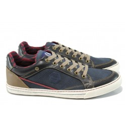 Сини мъжки спортни обувки, здрава еко-кожа - всекидневни обувки за целогодишно ползване N 100011164
