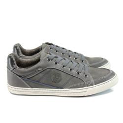 Сиви мъжки спортни обувки, здрава еко-кожа - всекидневни обувки за целогодишно ползване N 100011165