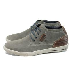 Сиви анатомични мъжки обувки, естествен набук - всекидневни обувки за есента и зимата N 100011169