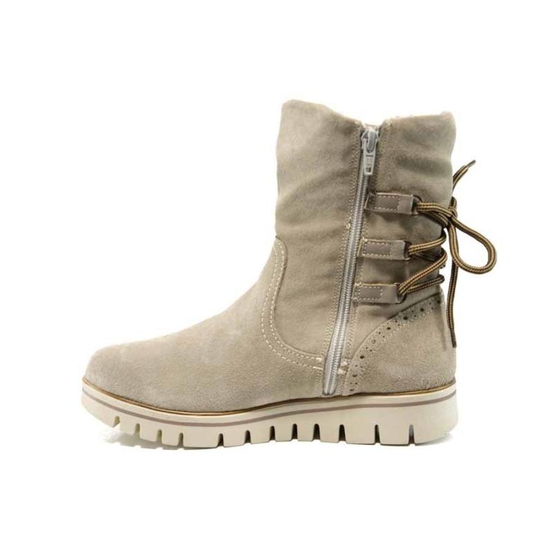 d3cf8a8157a Бежови дамски боти, естествен велур - всекидневни обувки за есента и зимата  N 100011542