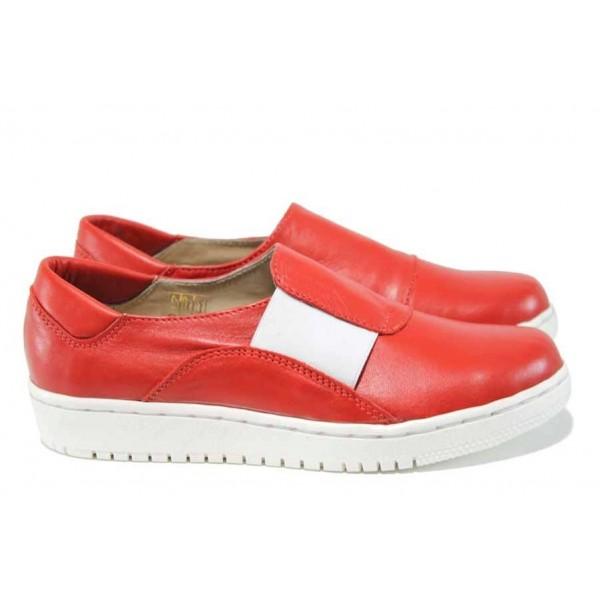 Червени анатомични дамски обувки с равна подметка, естествена кожа - спортни обувки за пролетта и лятото N 100012174