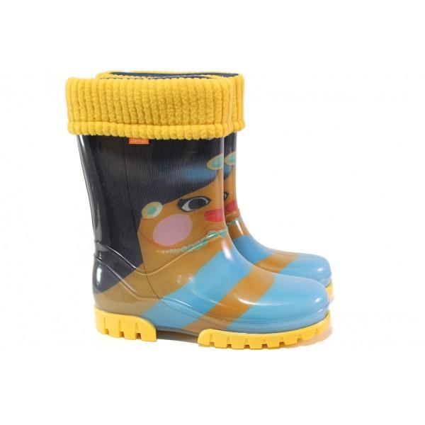 Оранжеви детски ботушки, pvc материя - ежедневни обувки за есента и зимата N 100013083