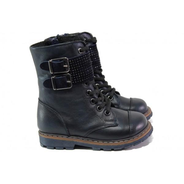 Ортопедични сини детски ботушки, естествена кожа - ежедневни обувки за есента и зимата N 100013206