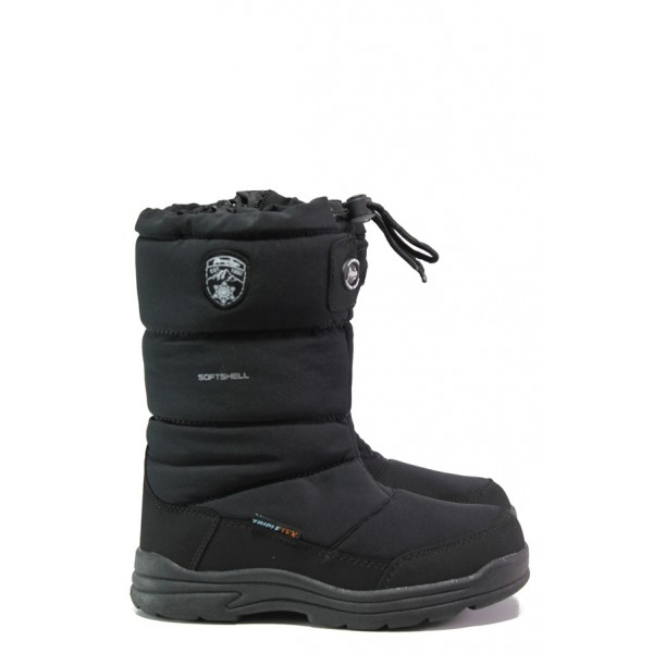 Черни детски ботушки, текстилна материя - ежедневни обувки за есента и зимата N 100013446