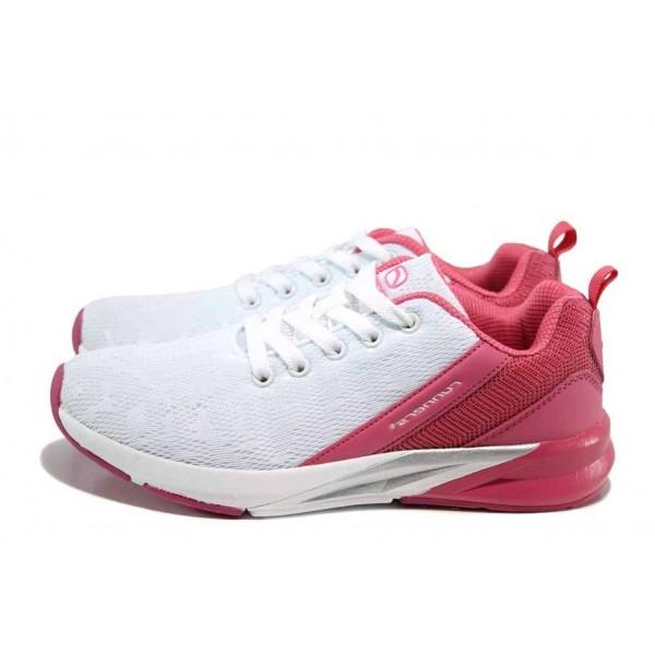 Бели дамски маратонки, текстилна материя - спортни обувки за пролетта и лятото N 100012091