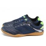 Тъмносини юношески стоножки за футбол, еко-кожа и текстилна материя - спортни обувки за целогодишно ползване N 100012197