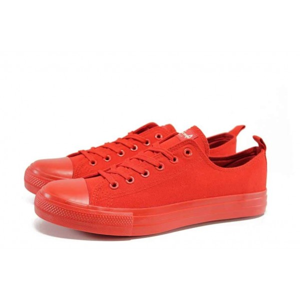 Червени тинейджърски маратонки, текстилна материя - спортни кецове за пролетта и лятото N 100012545