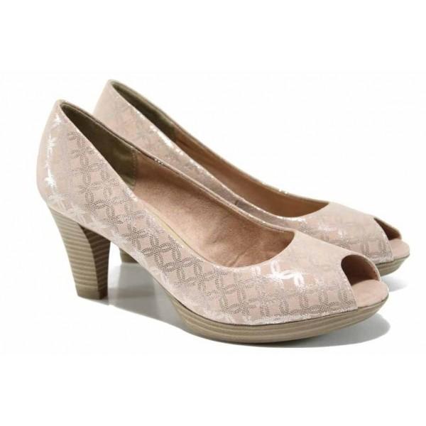 Розови дамски обувки с висок ток, текстилна материя - официални обувки за пролетта и лятото N 100012206