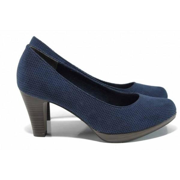 Сини дамски обувки с висок ток, текстилна материя - официални обувки за пролетта и лятото N 100012208