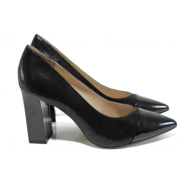 Черни дамски обувки с висок ток, естествена кожа - официални обувки за целогодишно ползване N 100012337