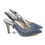 Сини дамски сандали, естествена кожа - официални обувки за пролетта и лятото N 100012427