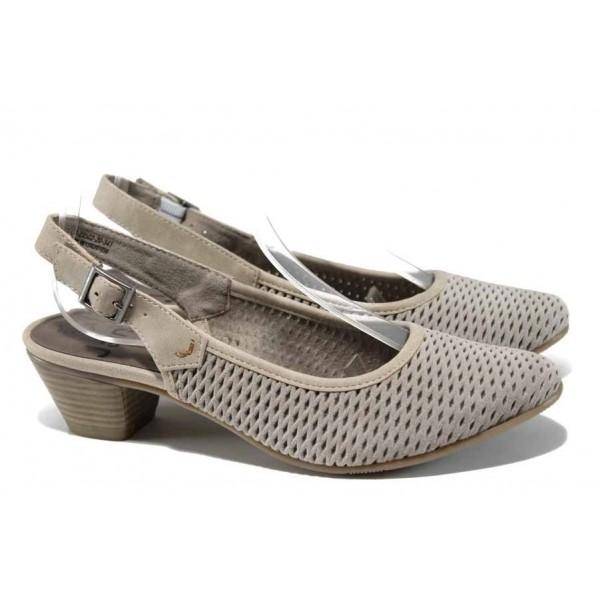 Бежови дамски обувки със среден ток, естествен набук - всекидневни обувки за пролетта и лятото N 100012428