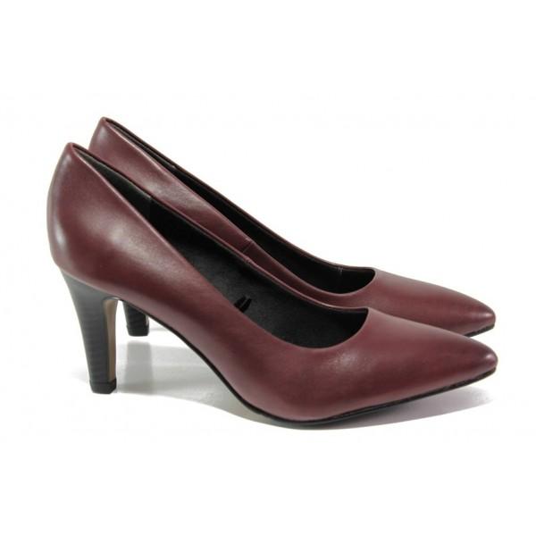 Винени дамски обувки с висок ток, естествена кожа - официални обувки за целогодишно ползване N 100012973
