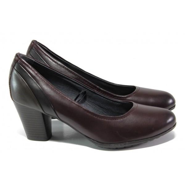 Винени дамски обувки със среден ток, естествена кожа - ежедневни обувки за целогодишно ползване N 100013017