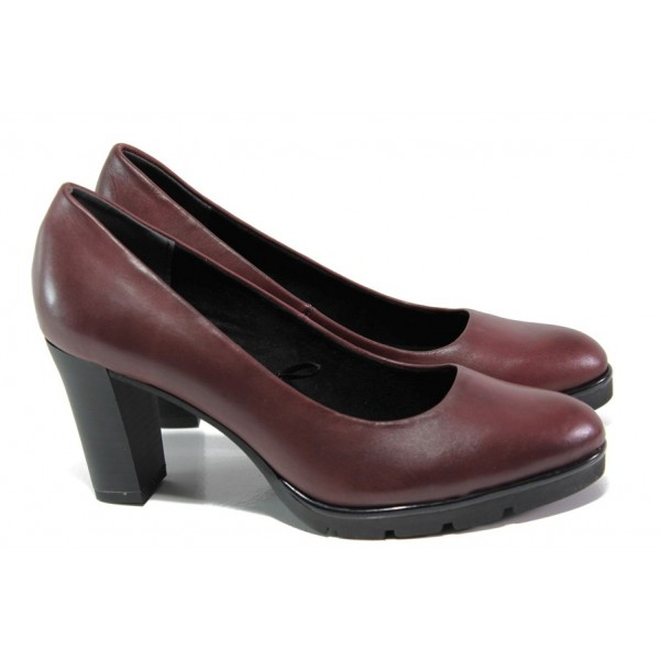 Винени дамски обувки с висок ток, естествена кожа - ежедневни обувки за целогодишно ползване N 100013015