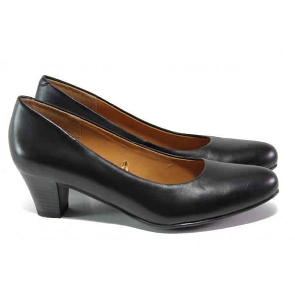 Черни дамски обувки със среден ток, естествена кожа - ежедневни обувки за целогодишно ползване N 100013069