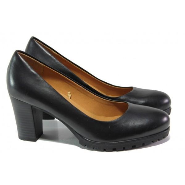 Черни дамски обувки с висок ток, естествена кожа - ежедневни обувки за целогодишно ползване N 100013068