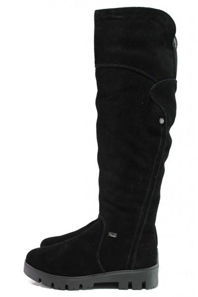 7a6fae39311 Черни дамски ботуши, естествен велур - ежедневни обувки за есента и зимата  N 100013384