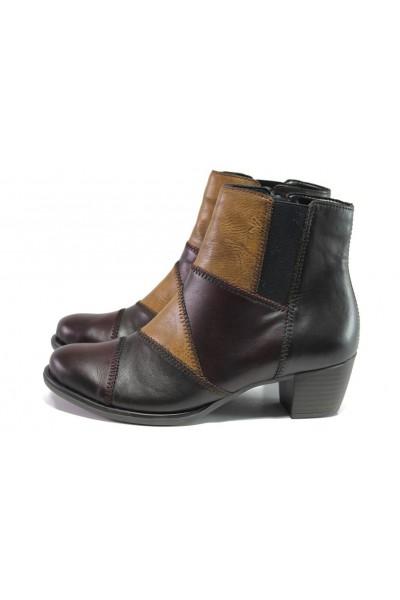 eda063d09fb Винени дамски боти, естествена кожа - ежедневни обувки за есента и зимата N  100013422
