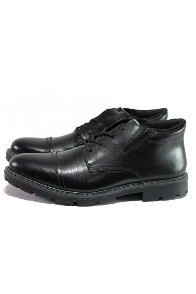 84549a7cc7d Черни мъжки боти, естествена кожа - ежедневни обувки за есента и зимата N  100013450