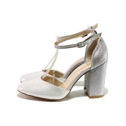 Сребристи дамски обувки с висок ток, здрава еко-кожа - ежедневни обувки за пролетта и лятото N 100014012