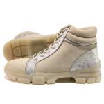 Бежови дамски боти, качествен еко-велур - ежедневни обувки за есента и зимата N 100014458