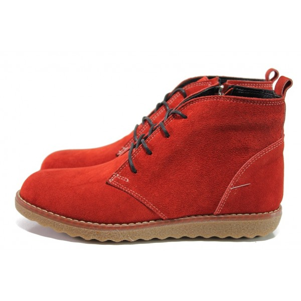 Червени дамски боти, естествен велур - ежедневни обувки за есента и зимата N 100014657