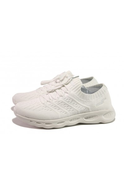 ce024e0e881 Бели дамски маратонки, текстилна материя - спортни обувки за пролетта и  лятото N 100013733