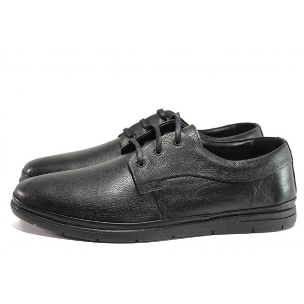 Черни мъжки обувки, естествена кожа - всекидневни обувки за целогодишно ползване N 100014631