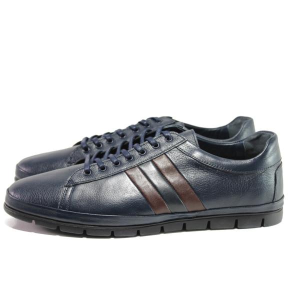 Тъмносини мъжки обувки, естествена кожа - всекидневни обувки за целогодишно ползване N 100014632