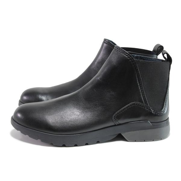 Черни дамски боти, естествена кожа - ежедневни обувки за есента и зимата N 100014431