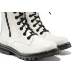 Бели дамски боти, естествена кожа - ежедневни обувки за есента и зимата N 100014637