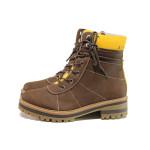 Кафяви дамски боти, здрава еко-кожа - ежедневни обувки за есента и зимата N 100014638