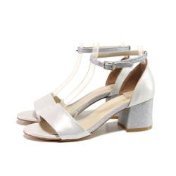 Сребристи дамски сандали, здрава еко-кожа - елегантни обувки за пролетта и лятото N 100015673