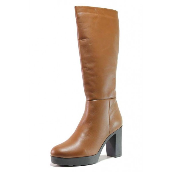 Кафяви дамски ботуши, естествена кожа - елегантни обувки за есента и зимата N 100015886