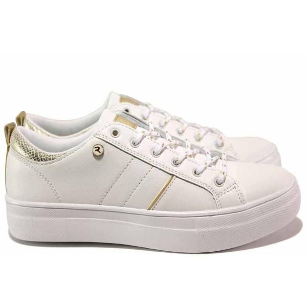 Бели тинейджърски маратонки, здрава еко-кожа - спортни обувки за пролетта и лятото N 100015582