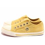 Жълти тинейджърски маратонки, текстилна материя - спортни кецове за пролетта и лятото N 100015595